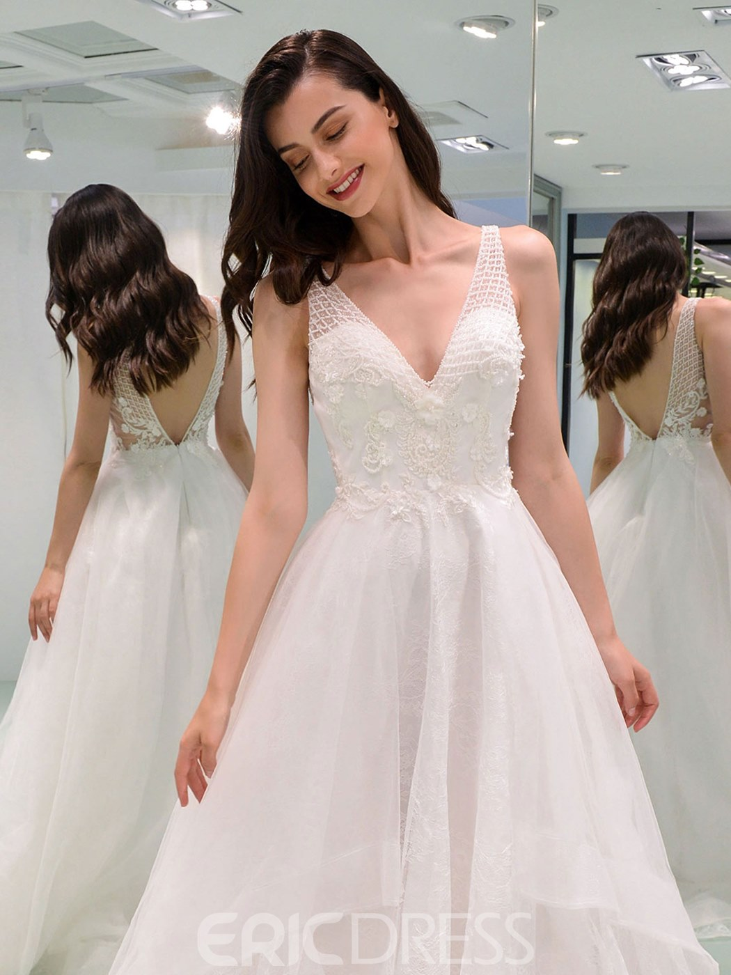 Ericdress Straps 3D Floral Beading Country Wedding Dress