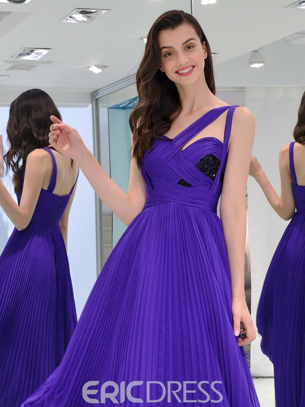 Ericdress A Line Straps Pleats Long Prom Dress With Beadings