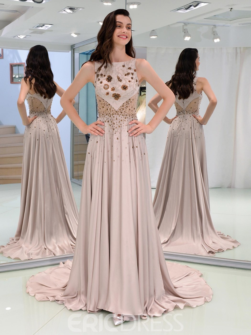Ericdress A Line Beaded Long Prom With Beadings