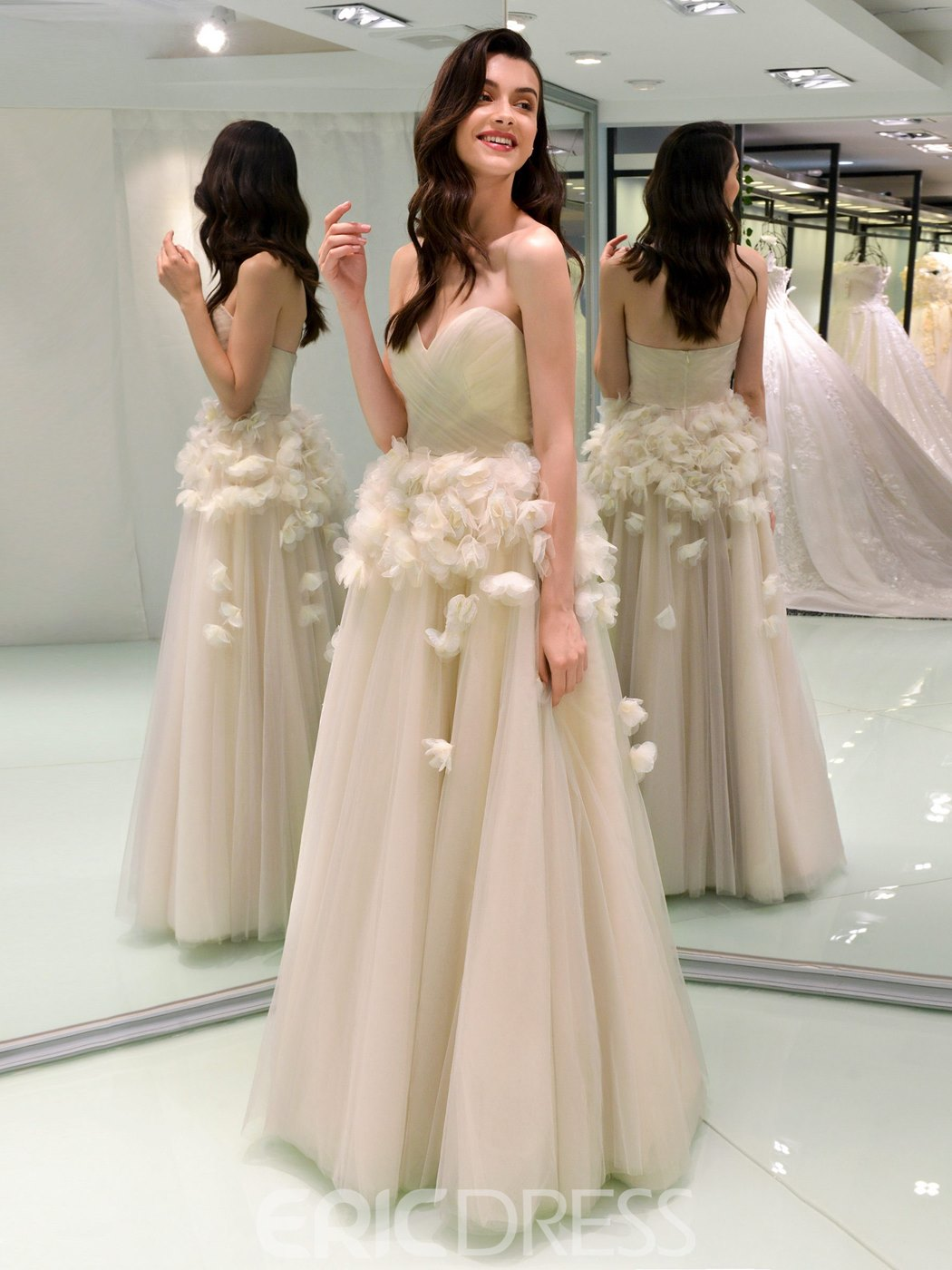 Ericdress Sweetheart Ball Gown 3D Floral Color Wedding Dress