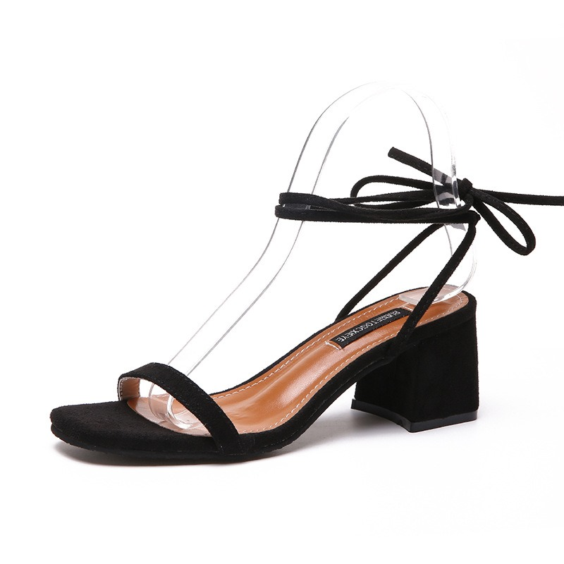 Ericdress Suede Lace-Up Ankle Strap Chunky Sandals