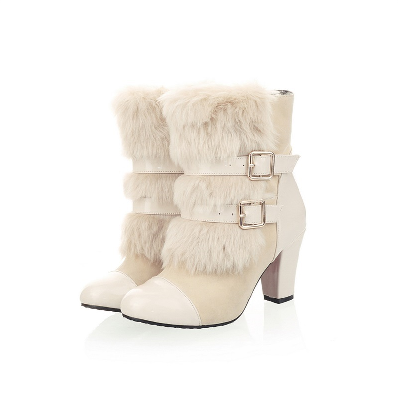 Ericdress Fashion Hasp Patchwork Chunky Heel Ankle Boots
