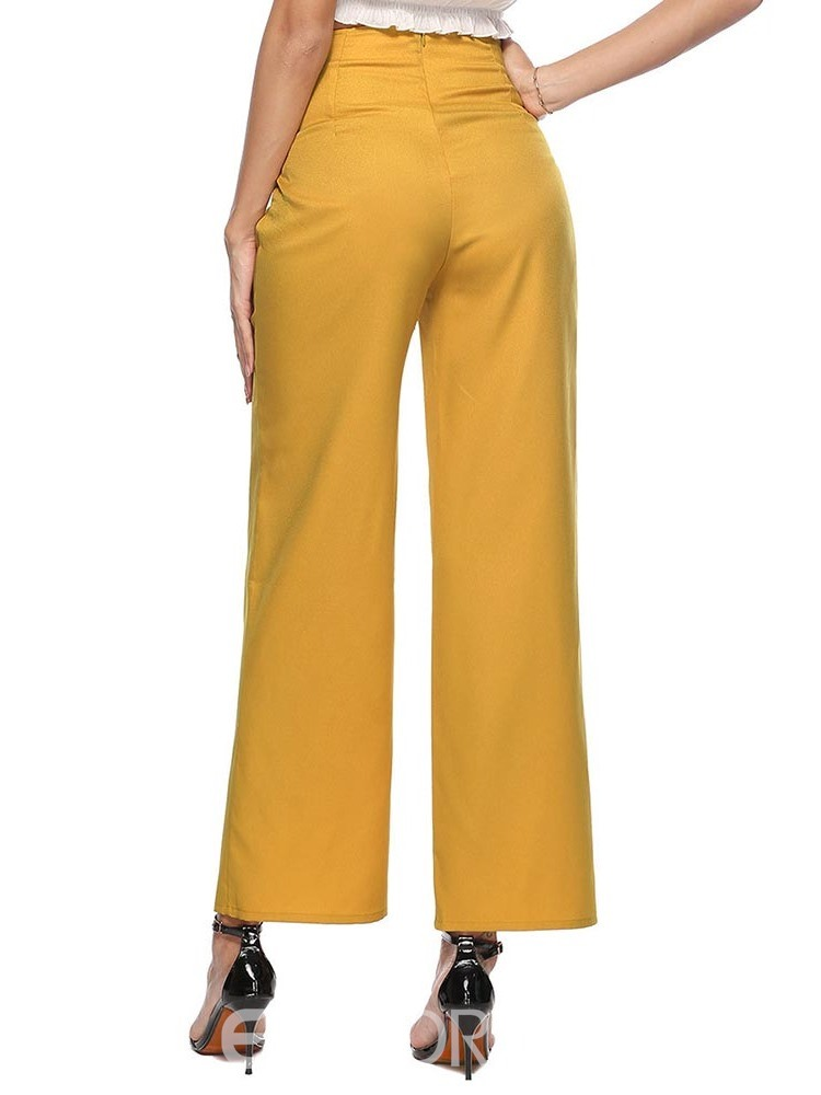 Ericdress Plain Lace-Up Loose Mid-Waist Wide Legs Casual Pants