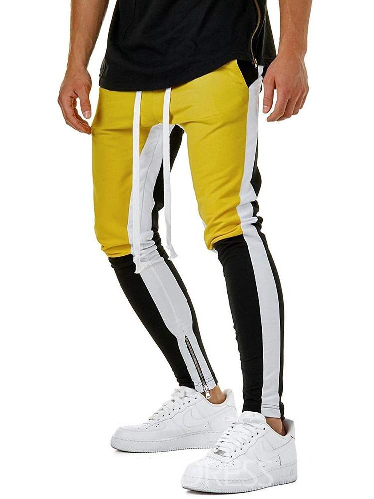 Ericdress Color Block Lace Up Zipper Mens Casual Sports Pants
