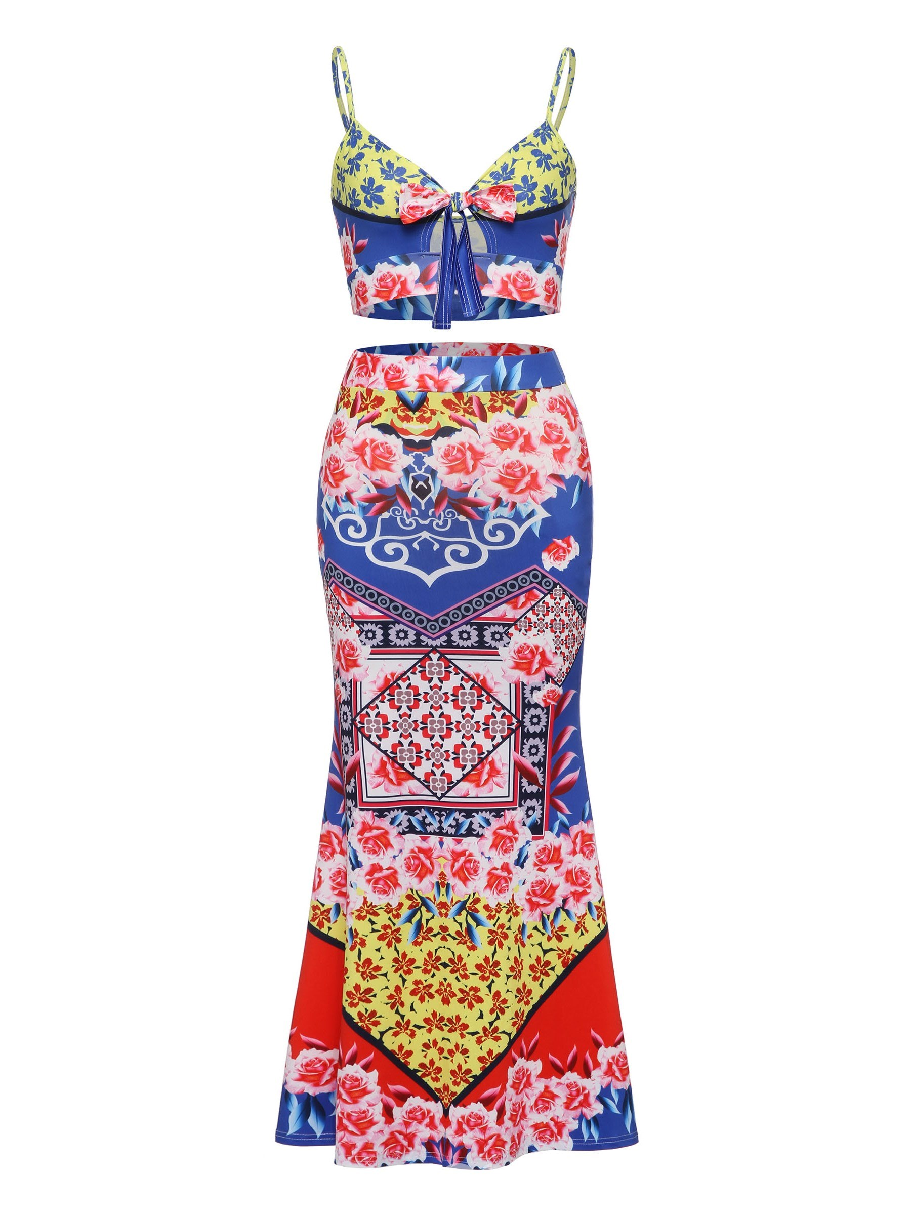Ericdress Print Bowknot Vest and Skirt Women's Two Piece Set