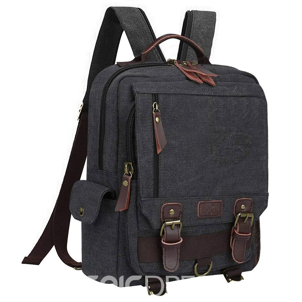 Ericdress Plain Waxed Canvas Waterproof Camera Backpack