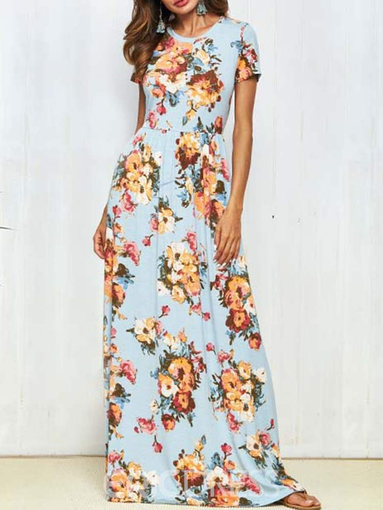 9cee0335ed Ericdress Floral Print Pullover Western Maxi Dress 13338666 ...