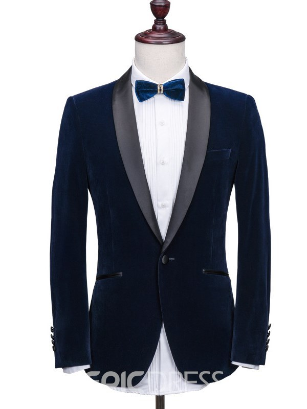 Ericdress Plain Shawl Collar Blazer Mens Casual Ball Suits