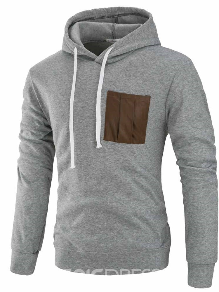 Ericdress Plain Lace Up Pullover Slim Mens Casual Hoodies