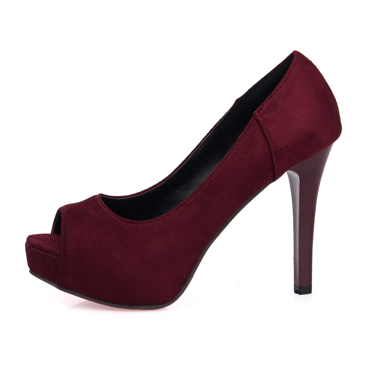 Ericdress Suede Platform Slip-On Peep Toe Stiletto Heel Pumps