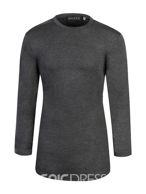 Ericdress Plain Slim Fitted Scoop Mens Casual Long Sleeve T Shirts