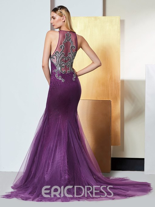 Ericdress Applique Lace Mermaid Evening Dress With Beadings