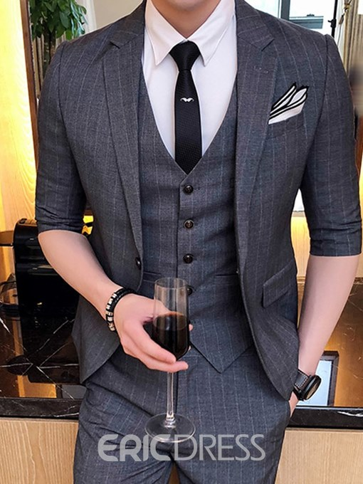 Ericdress Striped One Button Blazer Vest Pants Mens Suits