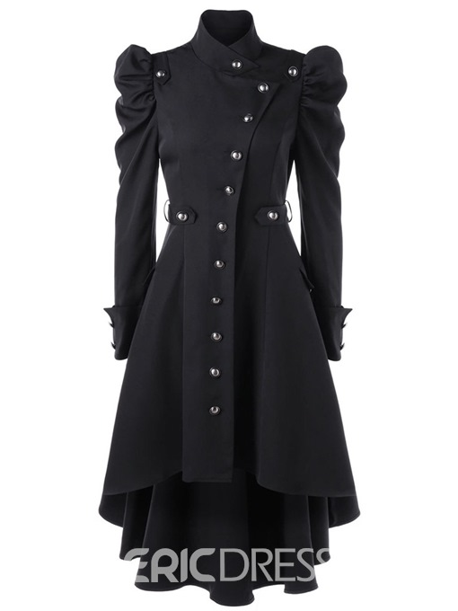 Ericdress Button-Down Asymmetric Stand Collar Coat