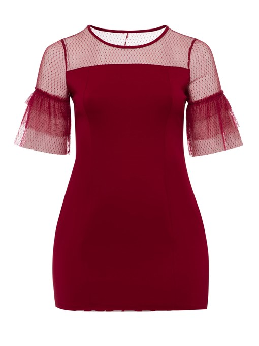 Ericdress Burgundy Flare Sleeve Mesh See-Through Bodycon Dress