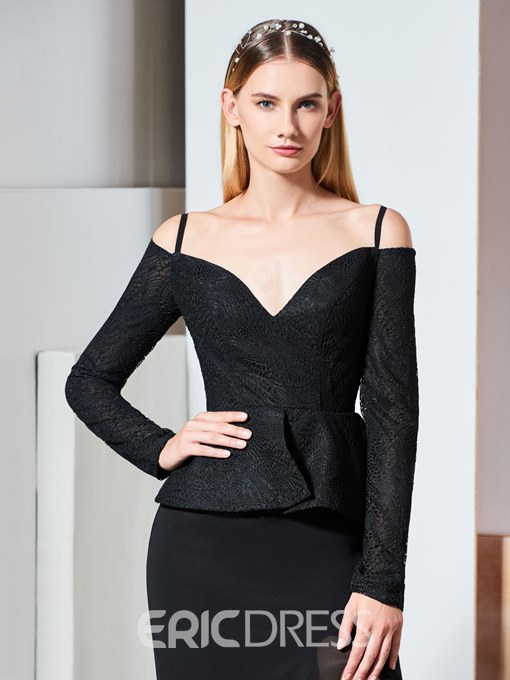 Ericdress Long Sleeve Lace Black Evening Dress With Split Side