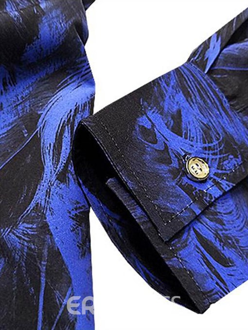 Ericdress Blue Feather Printed Slim Fitted Mens Casual Long Sleeve Shirts