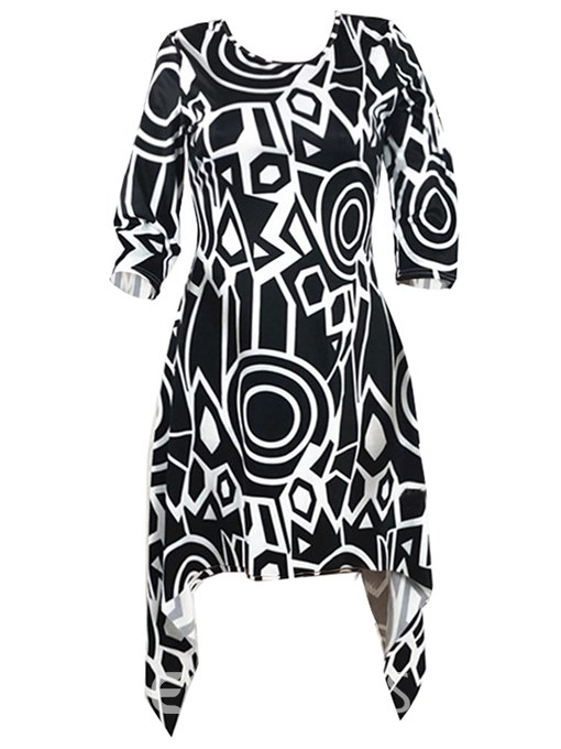 Ericdress Asymmetric Print Pullover Casual Dress