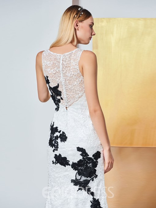 Ericdress Scoop Neck Applique Lace Mermaid Evening Dress