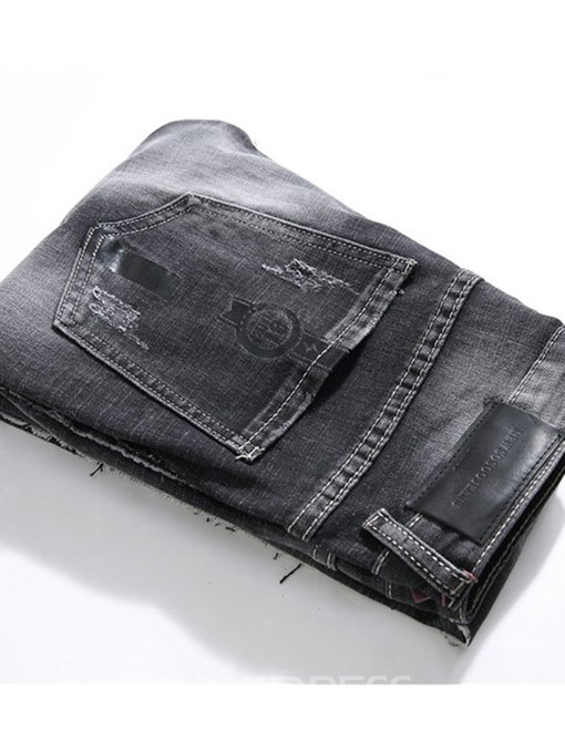 Ericdress Black Straight Plain Mens Ripped Casual Jeans