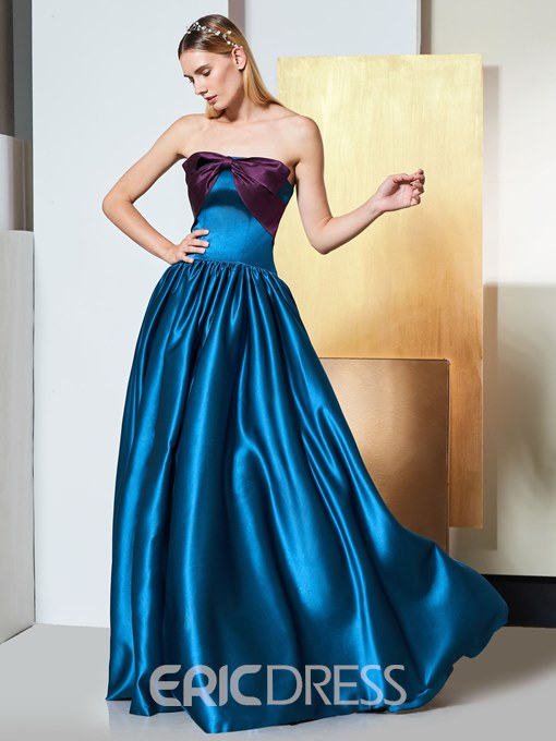 Ericdress A Line Strapless Contrast Long Elegant Prom Dress