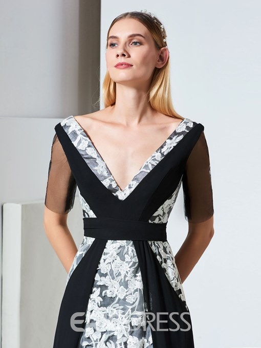 Ericdress A Line Half Sleeve Black And White Evening Dress