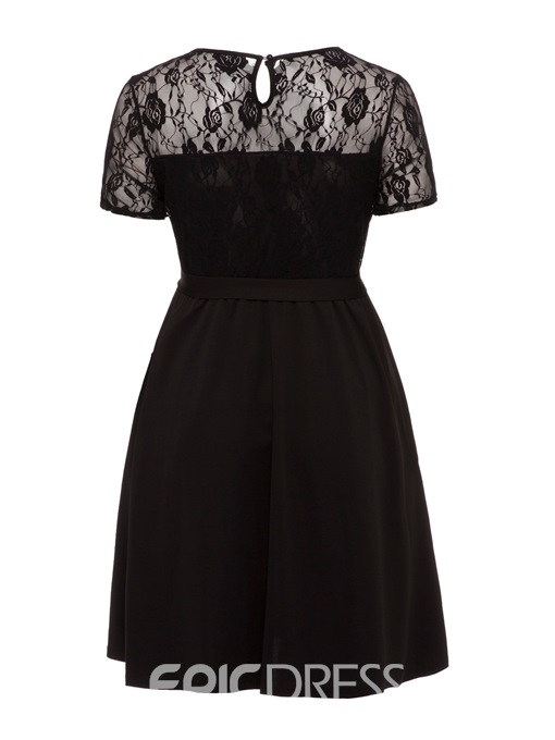 Ericdress Patchwork Lace-Up Ladylike A-Line Dress
