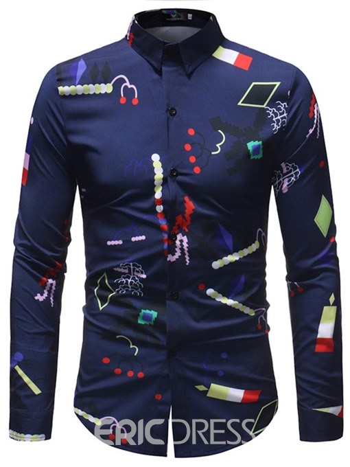 Ericdress Dark Blue Geomtric Print Long Sleeve Mens Casual Shirts
