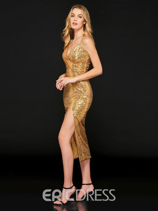 Ericdress Sheath Sequin Ankle Length Backless Bodycon Reflective Dress