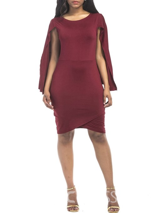Ericdress Burgundy Batwing Sleeve Pullover Bodycon Dress