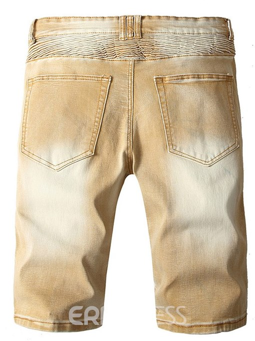 Ericdress Yellow Pleated Straight Worn Mens Casual Shorts