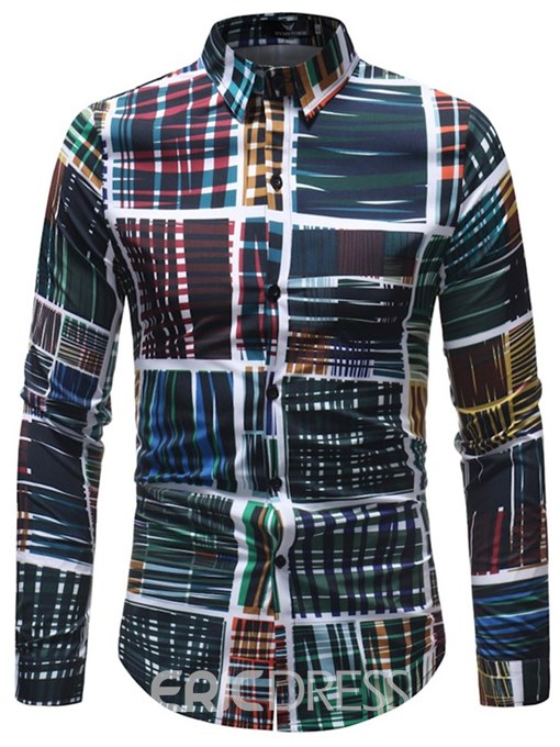 Ericdress Striped Plaid Printed Loose Long Sleeve Mens Shirts