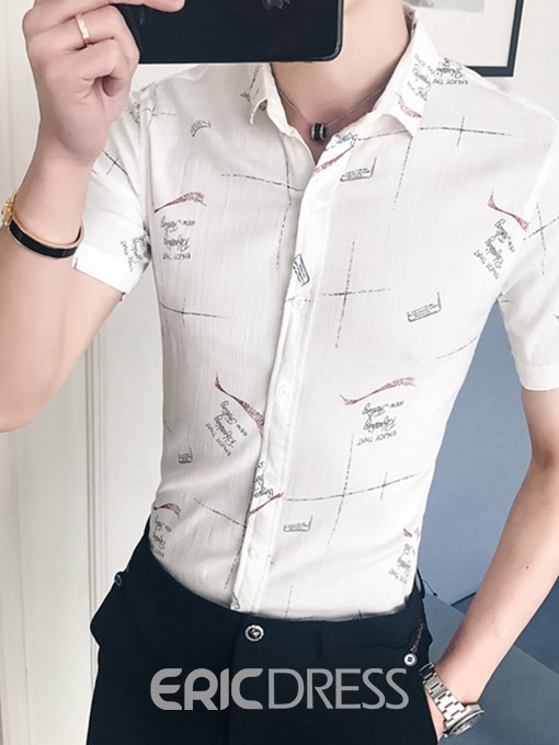 Ericdress Printed Lapel Slim Fitted Short Sleeve Mens Casual Shirts