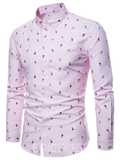 Ericdress Printed Slim Fitted Mens Button Down Casual Dress Shirts