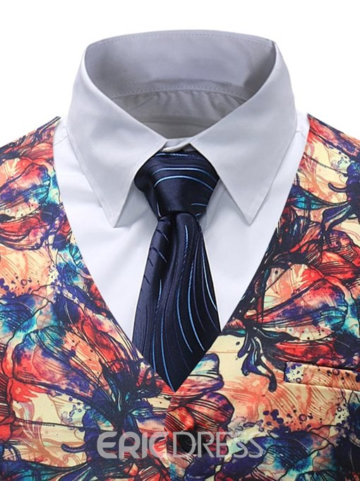 Ericdress Floral Printed Single Breasted Mens Vest