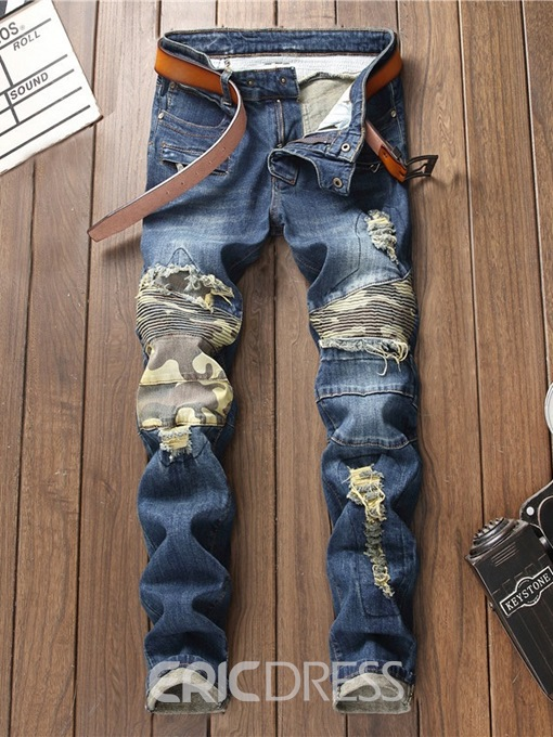 Ericdress Dark Blue Color Block Straight Mens Ripped Jeans