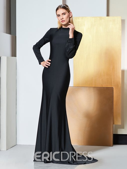 Ericdress Long Sleeve High Neck Backless Mermaid Evening Dress