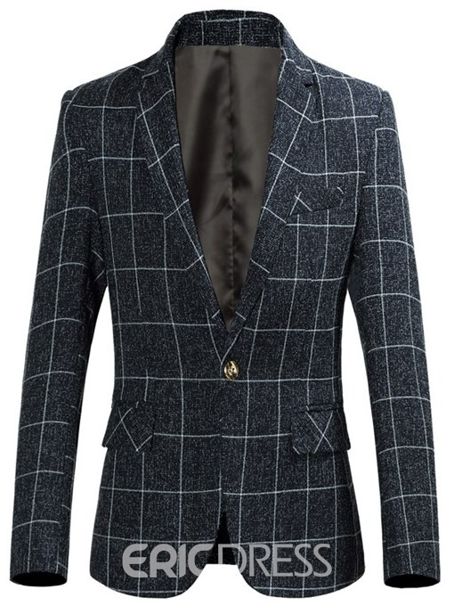 Ericdress Plaid Notched Lapel Slim Fitted One Button Mens Casual Blazer