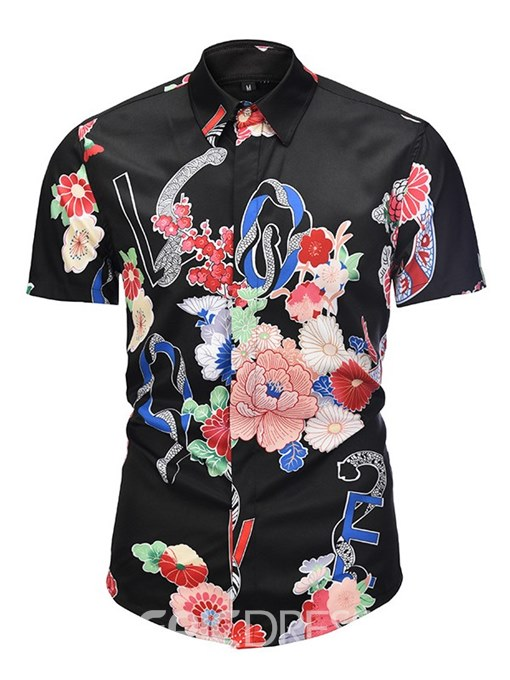 Ericdress Black Floral Printed Slim Fitted Mens Short Sleeve Shirts
