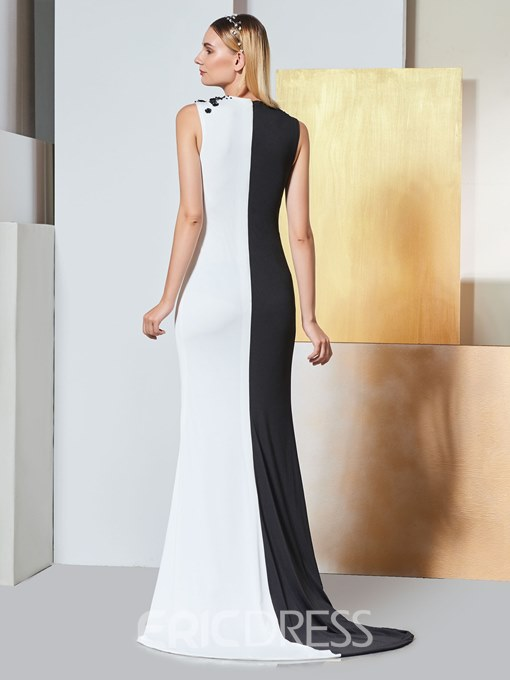 Ericdress Sheath Scoop Neck Black And White Evening Dress