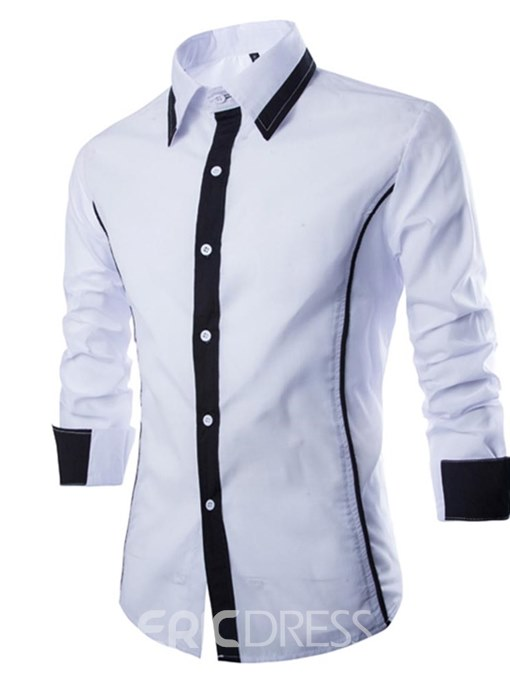 Ericdress Color Block Slim Fitted Plain Mens Long Sleeve Shirts