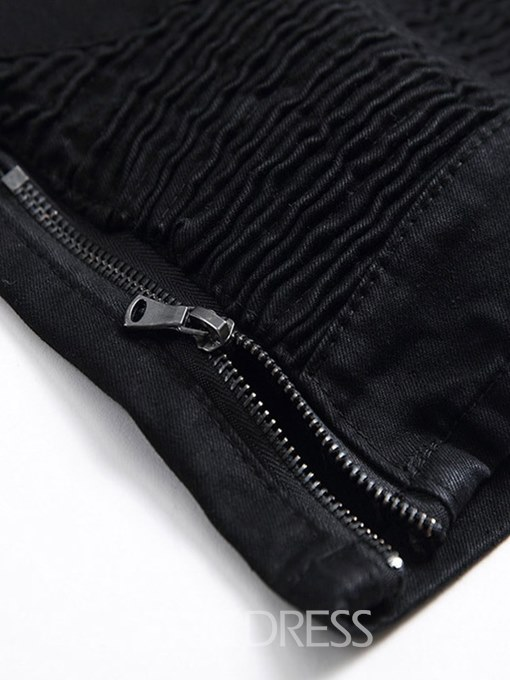 Ericdress Pleated Black Straight Zipper Mens Casual Shorts