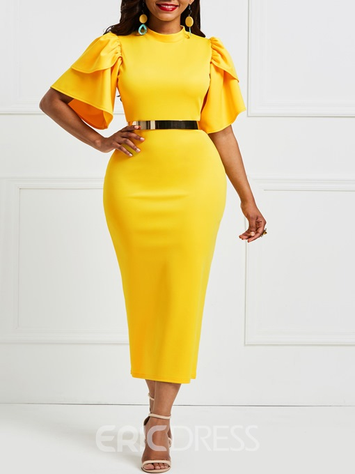 Ericdress Yellow Ruffle Sleeve Patchwork Bodycon Dress(Without Waistband)