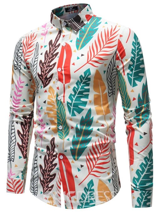 Ericdress Leaf Printed Lapel Long Sleeve Mens Casual Shirts