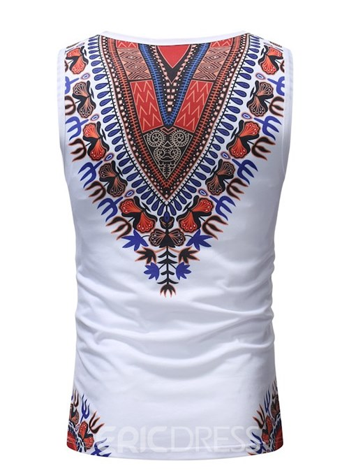 Ericdress Dashiki African Printed Slim Fitted Mens Casual Vest