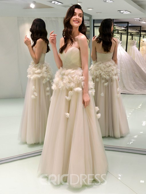 Ericdress Sweetheart 3D Floral Country Wedding Dress