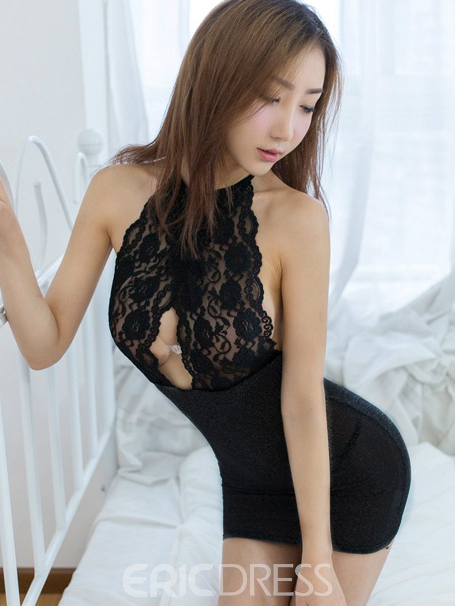Eridress Sexy Halter Hollow Backless Lace Chemise with Thong