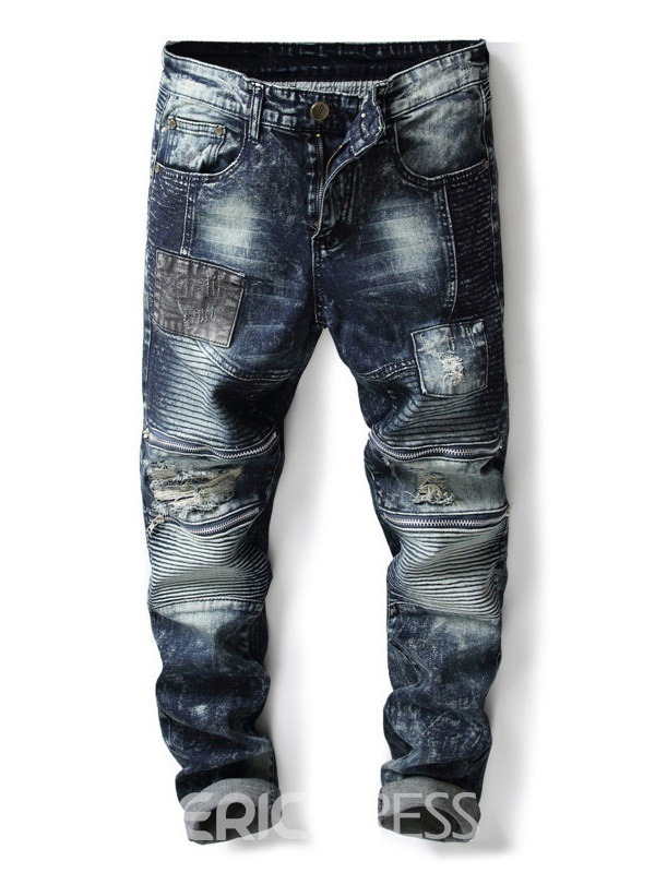 Ericdress Denim Blue Color Block Straight Mens Ripped Jeans