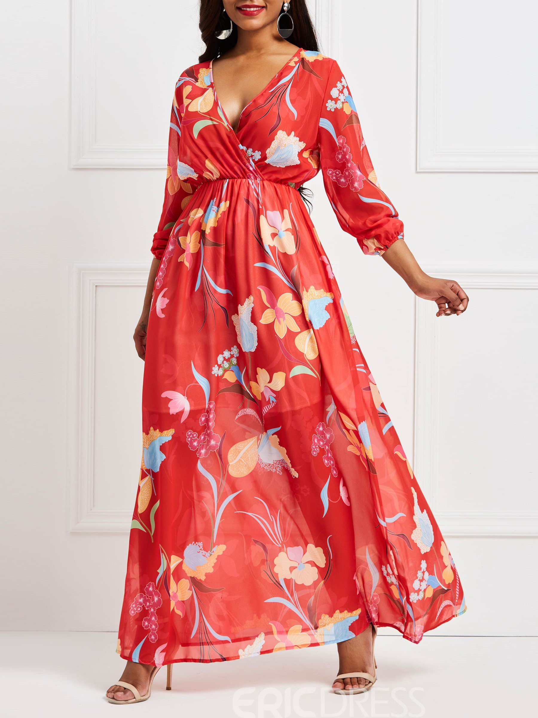 Ericdress Red Floral Lantern Sleeve V-Neck Maxi Dress