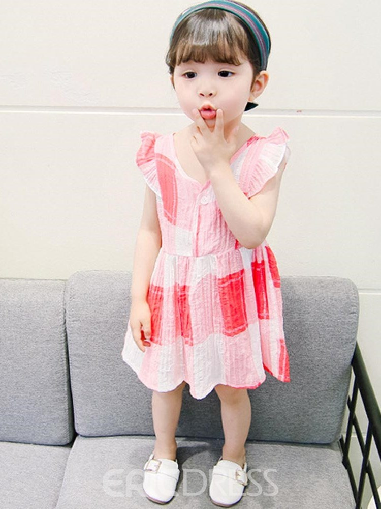 Ericdress Plaid Single Breasted V-Neck Cap Sleeve Girl's Casual Dress